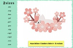 Kitten in a Cloud of Flowers - Machine Embroidery Design Product Image 1