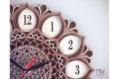 C06 - Mandala Flower Clock, Layered Clock DXF, Clock SVG Product Image 3
