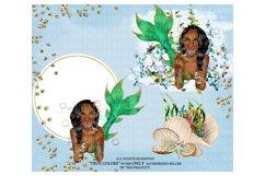 Mermaid ClipArt Afro American Mermaid Clip Art Product Image 4