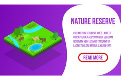 Nature reserve banner, isometric style Product Image 1