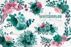 Watercolor elegant emerald green and mauve floral bouquets. Product Image 1