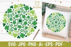 St Patricks Day Clover Mandala SVG, Shamrock Mandala Svg Product Image 1