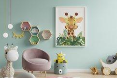 Set of 6 Safari Animal. Nursery Wall Decor. Tropical Prints. Product Image 4