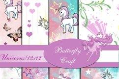 Unicorns Digital Paper , Scrapbook unicorn paper Product Image 1