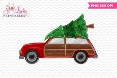 Wooden Christmas Station Wagon printable sublimation design Product Image 1
