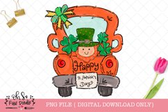 St Patrick's day Truck with leprechaun, sublimation PNG Product Image 1