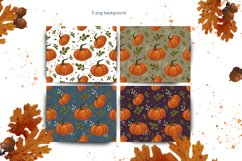 set of autumn seamless patterns with pumpkins Product Image 3