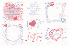 Love set. Hearts kisses doodle clipart, frames and pattern Product Image 2