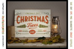 Freshly Cut Christmas Trees - Rustic Farm Wood Sign SVG file Product Image 2