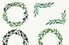 Watercolor olive branches, wreathes clipart, png files Product Image 2