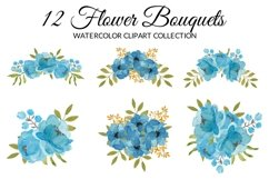 Blue Peony Flower Watercolor Clipart Collection Product Image 3