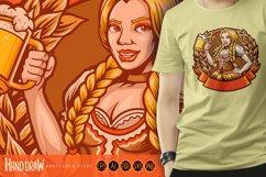 Beautiful Beer Girl Mascot Badge SVG Illustrations Product Image 1