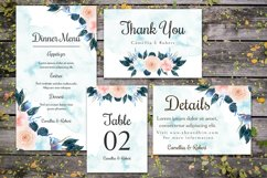 Gorgeous Blue And Peach Flowers Wedding Invitation Suite Product Image 2