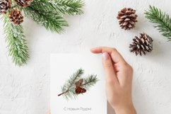 Watercolor Christmas greenery clipart, Winter collection Product Image 5