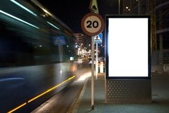mock up of a billboard on a night street. Product Image 1