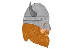 Viking Warrior Head Right Side View Drawing Product Image 1