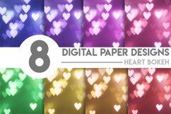 Valentine's Heart Bokeh Digital Paper Bundle Product Image 1