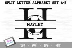 Split Letters A-Z - 26 Split Monogram soccer SVG alphabet Product Image 1