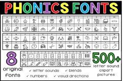 Phonics Fonts Bundle - 8 Clip Art Fonts Product Image 1