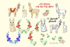 Llama Clipart with red flowers Product Image 2
