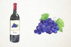 Watercolor Wine Clipart, Wine Clip Art, Wine Bottle Clipart Product Image 4