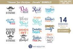 Mason Jar Designs, Decals, printable labels svg files Bundle Product Image 1