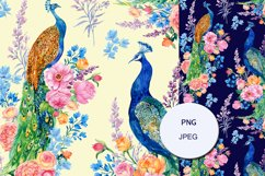 Peacocks Seamless Pattern,floral Watercolor Digital paper Product Image 3