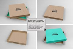 Medium Square Paper Box and Lid Packaging Mockup Product Image 4