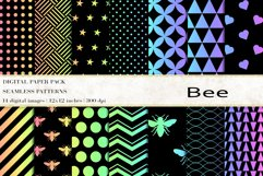 Bee Digital Papers, Rainbow Bee Seamless Patterns Product Image 1