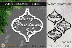 Arabesque Tile Christmas Ornament . Lantern SVG Cut File Product Image 1