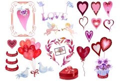 Valentine's watercolor clipart,digital papers Product Image 3