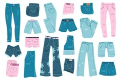 Jeans clothes. Denim trousers, shorts and skirt, blue jeans Product Image 1
