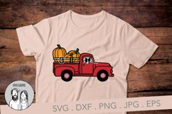 Fall Pumpkin truck with border collie, Cut file Product Image 2
