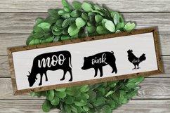 Moo Cluck Oink Farm Animal Trio SVG's   Farmhouse SVG Product Image 5