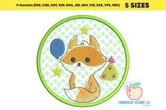 Birthday Fox in Circle Applique Design Product Image 2