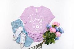 Bella Canvas Mockup 3001 Heather Prism Lilac T-shirt Mockup Product Image 1