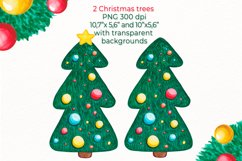 Christmas tree clipart Watercolor Pine tree with decorations Product Image 2