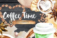 Coffee clipart, Cafe clipart, Food Watercolor clipart Product Image 2