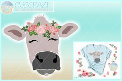 Cow Face With Roses Svg Dxf Eps Png Pdf Files Product Image 1