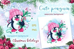 Cute penguin and Christmas. Winter holiday character. Product Image 2