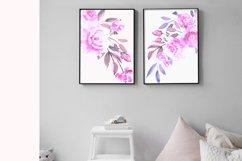 Purple Pink Violet Watercolor Flower Clipart Set Product Image 5