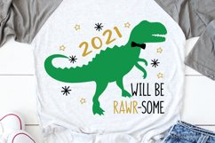 Kids New Years Svg, New Years 2021 Svg, New Years T-Rex Svg Product Image 1