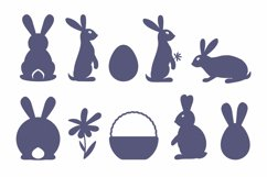 Bunny silhouette SVG Cut file for Crafters Easter Egg Basket Product Image 3