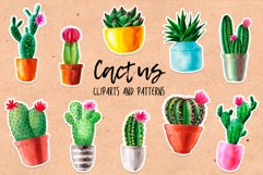 Watercolor Cactus. Cacti Patterns Product Image 1