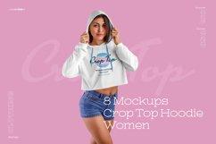8 Women Crop Top Hoodie Mockups Product Image 1