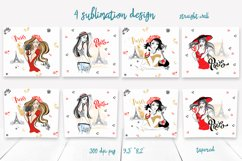 Travel girls in Paris tumbler sublimation design Png Product Image 2