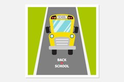 Back to school. School bus, road Product Image 1