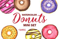 Donuts Watercolor mini Set. Clipart Product Image 1