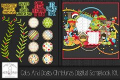 Cats and Dogs Christmas Digital Scrapbook Kit. Product Image 2