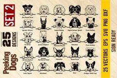 Peeking Dogs Set 2, Bundle Breed, Head Face, Cut vector Product Image 2